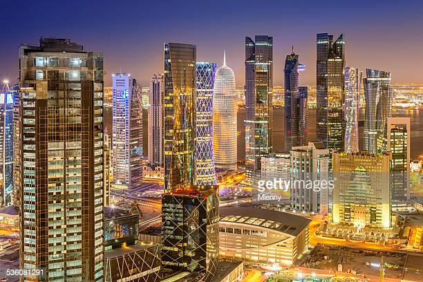Doha Skyline, Qatar Cityscape from Above at Night