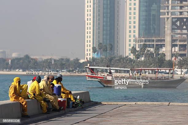 Doha Stadt Bauarbeiter bei der Pause