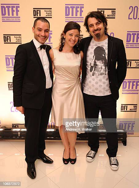 Doha Tribeca Film Festival coprogrammer Chadi Zeneddine Doha Tribeca Film Festival coprogrammer Hania Mroue and Scandar Copti attend the Awards Show...