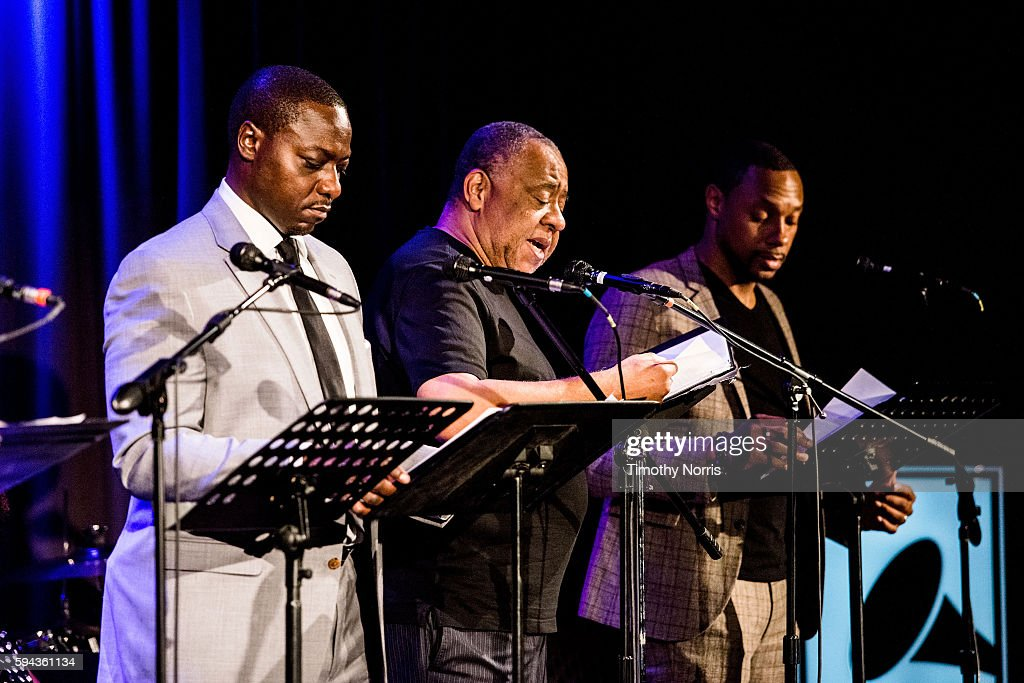 Dohn Norwood Barry Shabaka Henley and Dorian Missick perform during A Tribute To Langston Hughes at The GRAMMY Museum on August 22 2016 in Los...