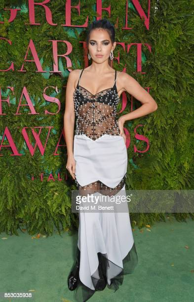 Doina Ciobanu attends the Green Carpet Fashion Awards Italia wearing Antonio Berardi for the Green Carpet Challenge at Teatro Alla Scala on September...