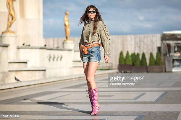 Doina Ciobanu is seen after the Armani show during Paris Fashion Week Haute Couture F/W 2016/2017 on July 5 2016 in Paris France