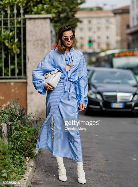Doina Ciobanu outside Max Mara during Milan Fashion Week Spring/Summer 2017 on September 22 2016 in Milan Italy