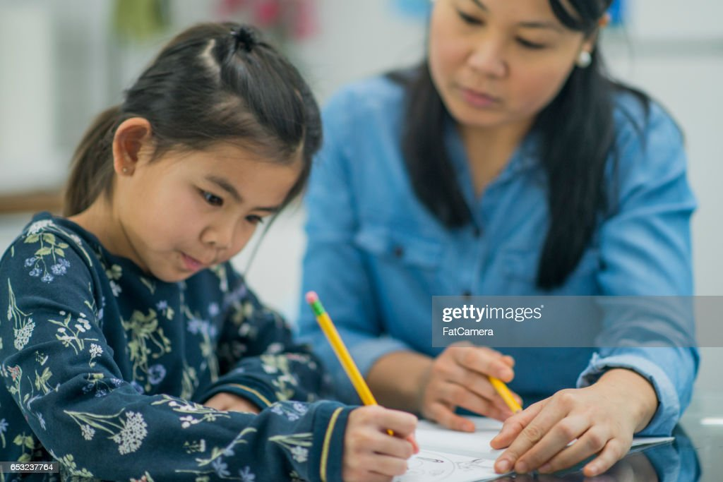 Doing a Homeschooling Assignment : Stock Photo