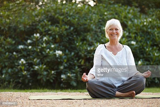 Doing her mindfulness exercises in the outdoors