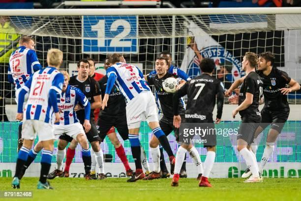 Doke Schmidt of sc Heerenveen Yuki Kobayashi of sc Heerenveen Morten Thorsby of sc Heerenveen Dirk Marcellis of PEC Zwolle goalkeeper Diederik Boer...