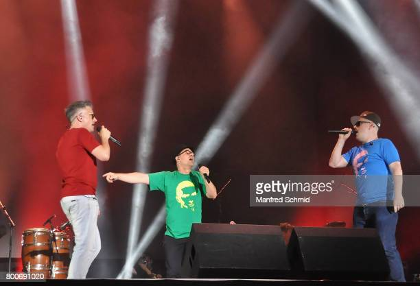 Dokter Renz Bjoern Beton and Koenig Boris of Fettes Brot perform on stage a 'Falco Tribute' during the Day 2 at Donauinselfest 2017 at Donauinsel on...