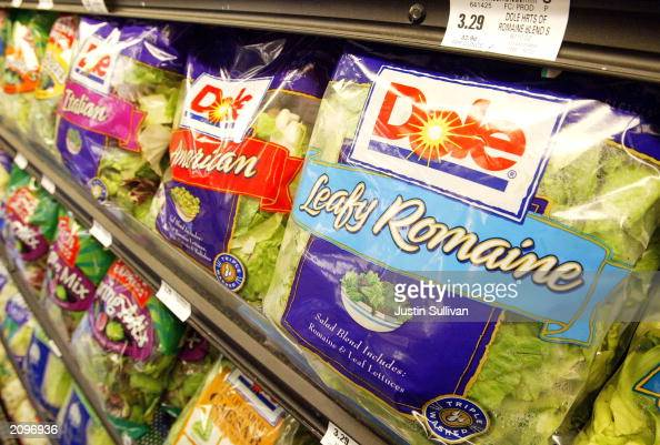 Dole PrePackaged salad sits on the shelf at a Bell Market grocery store June 19 2003 in San Francisco California Packaged salad which was near...