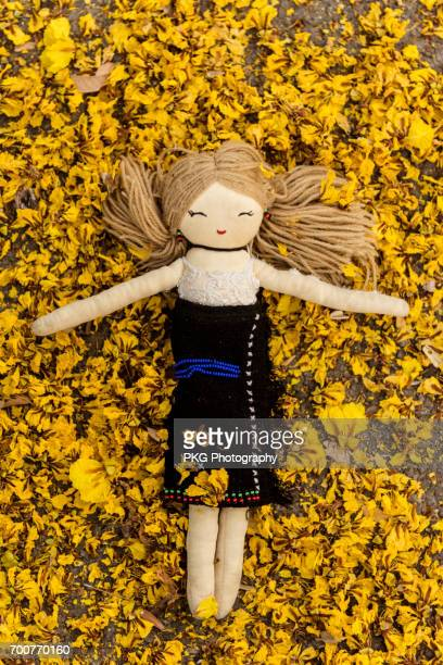 doll and glitterring shoes among fresh flowers