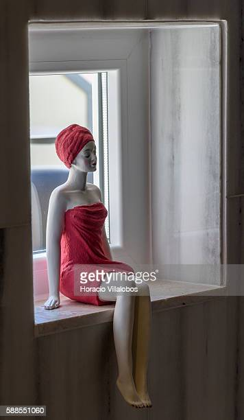 Doll in the bathroom of CR7 Cristiano Ronaldo Suite at Pestana CR7 Lisboa Hotel on August 11 2016 in Lisbon Portugal Pestana CR7 Lisboa Hotel a...