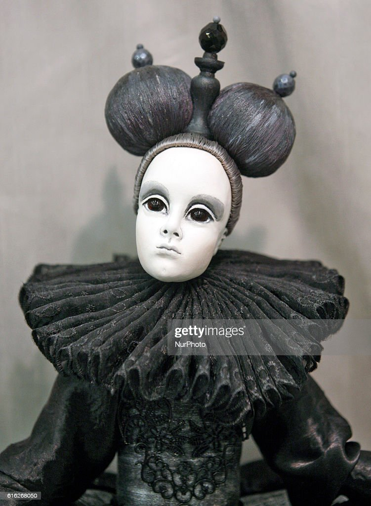 """A doll is seen during International exhibition of dolls and Teddy called """"Fashionable Doll"""" in Kiev,Ukraine,21 October,2016. The event gathered together masters and artists from Ukraine and EU countries,which presented more than two thousand author dolls made in the various techniques. The exhibition will run from 21 till 23 October."""