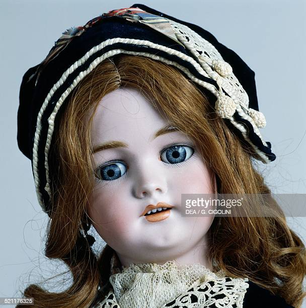 Doll No 1078 with dress and hat eyelet fabric detail bisque doll made by Simon and Halbig ca 1892 Germany 20th century Detail Germany