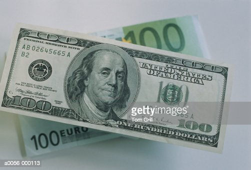 100 dollar and 100 euro notes stock photo getty images. Black Bedroom Furniture Sets. Home Design Ideas