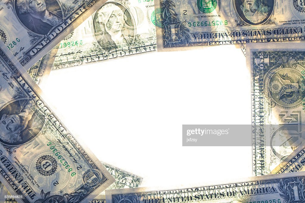 dollar background with white middle window : Stock Photo