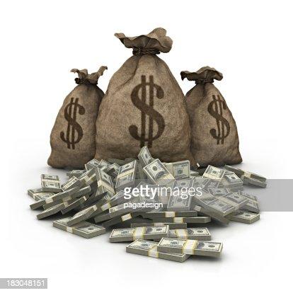 Dólar bolsa con dólares pila