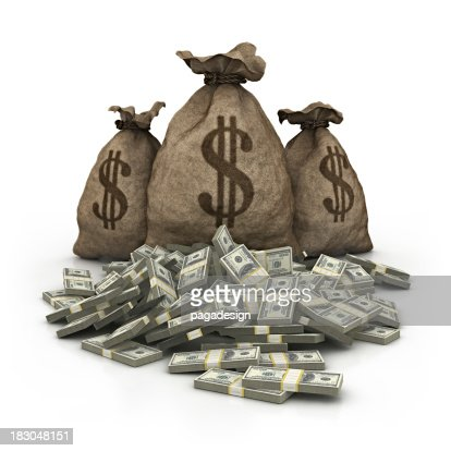 dollar bag with dollars heap