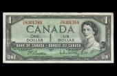 1 dollar banknote obverse queen Elizabeth II Canada 20th century