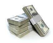 A stack of bundled one hundred dollar bill notes on an isolated background