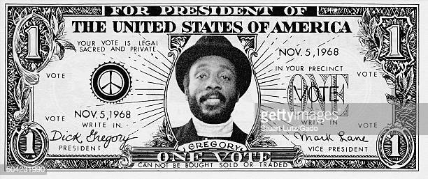 Dollar bill campaign advertisement for AfricanAmerican comedian and civil rights activist Dick Gregory featuring a peace symbol portrait of Mr...