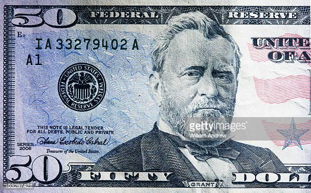 US 50 dollar bill, close-up