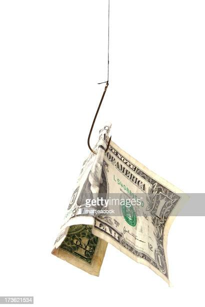 dollar bill held by fishing hook