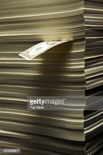 A dollar bill  in the piled paper : Stock Photo