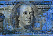 conceptual image of a dollar bill on  circuit board background