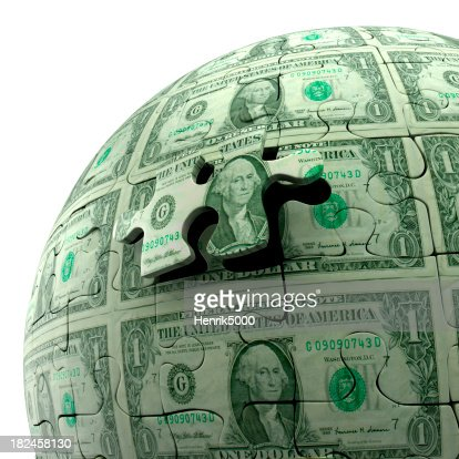 Dollar bill puzzle ball, isolated on white, Clipping Path included