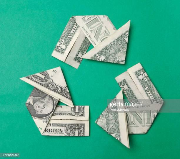 Dollar Bills Folded into Origami Arrows Recycle Symbol
