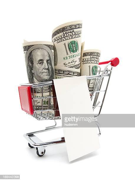 Dollar bills dans le panier d'achats
