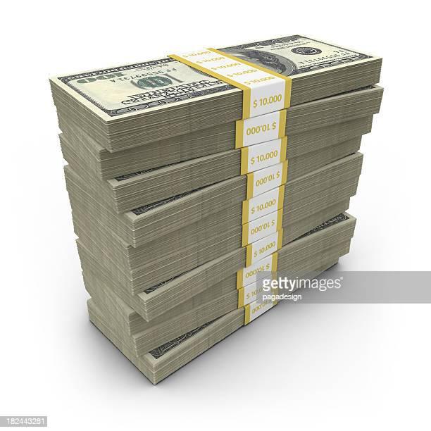 dollar-Scheine gestapelt