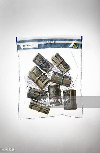 100 dollar bundles in police evidence bag