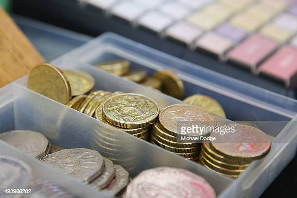 Dollar coins are seen on a bookies desk during Cox Plate Day at Moonee Valley Racecourse on October 24 2015 in Melbourne Australia