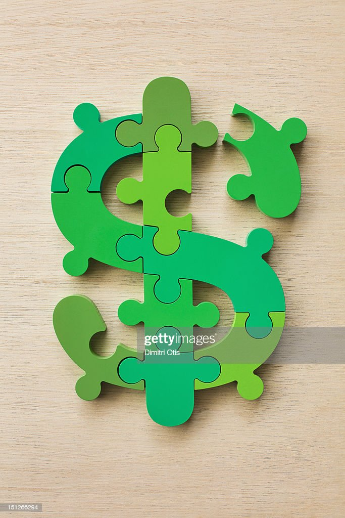 Dollar currency sign puzzle : Stock Photo