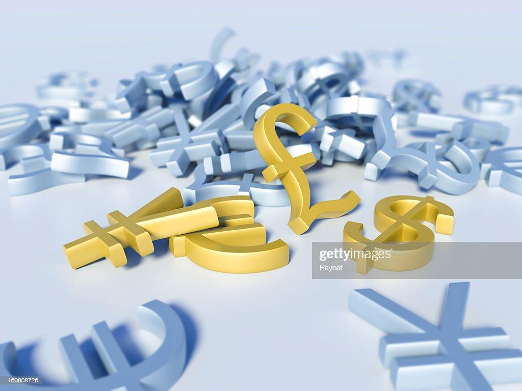 Dollar, Euro, Pound and Yen : Stock Photo