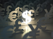 Dollar, euro, pound and yen signs. Ñurrency exchange concept. 3d