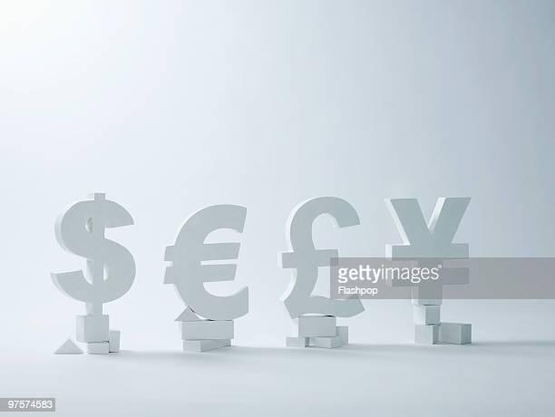 Dollar, Euro, Pound and Yen symbols