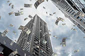 US Paper Currency, Flying, Finance, Skyscraper, City