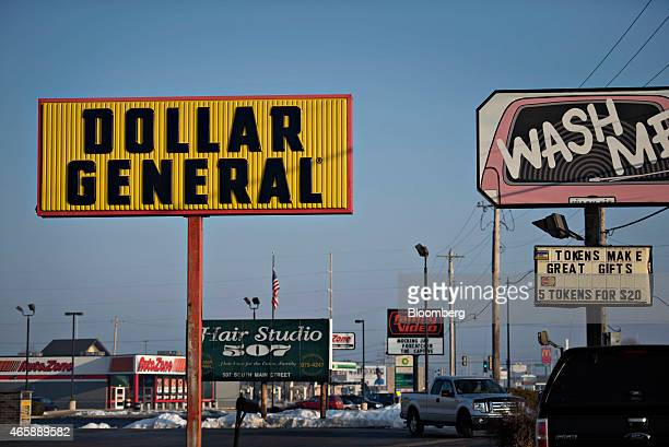 Dollar General Corp signage stands in Princeton Illinois US on Wednesday March 11 2015 Dollar General Corp is scheduled to release earnings on March...