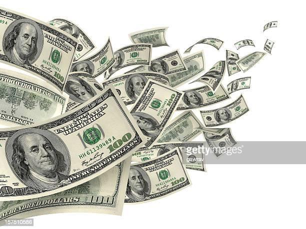 Cem notas de Dólar dos Estados Unidos contra o vento