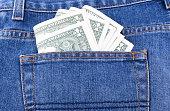dollar in jean pocket