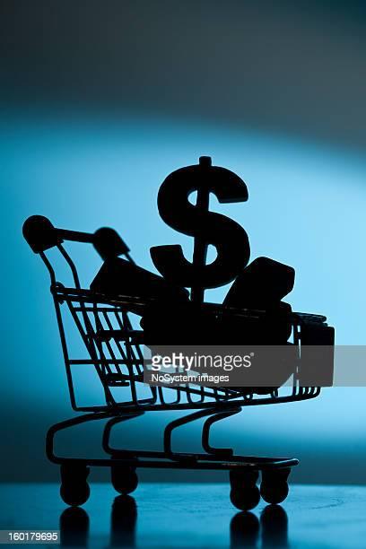 Dollar im Einkaufswagen