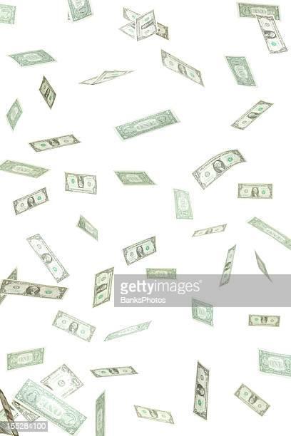 Kanadische Dollar Geld Konfetti fallen, isoliert auf weiss