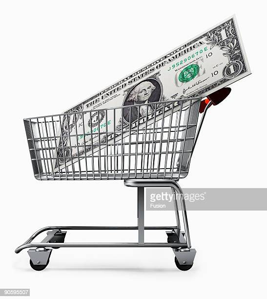 Dollar Note In Shopping Trolley