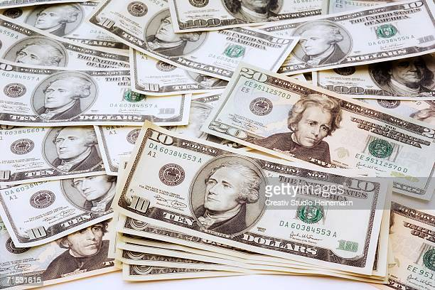 US dollar notes, elevated view, close-up