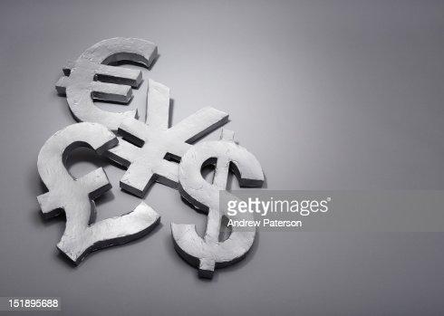 Dollar, pound, euro, yuan/yen currency symbols : Stock Photo