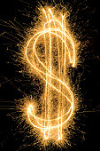 Dollar Sign drawn with a sparkler
