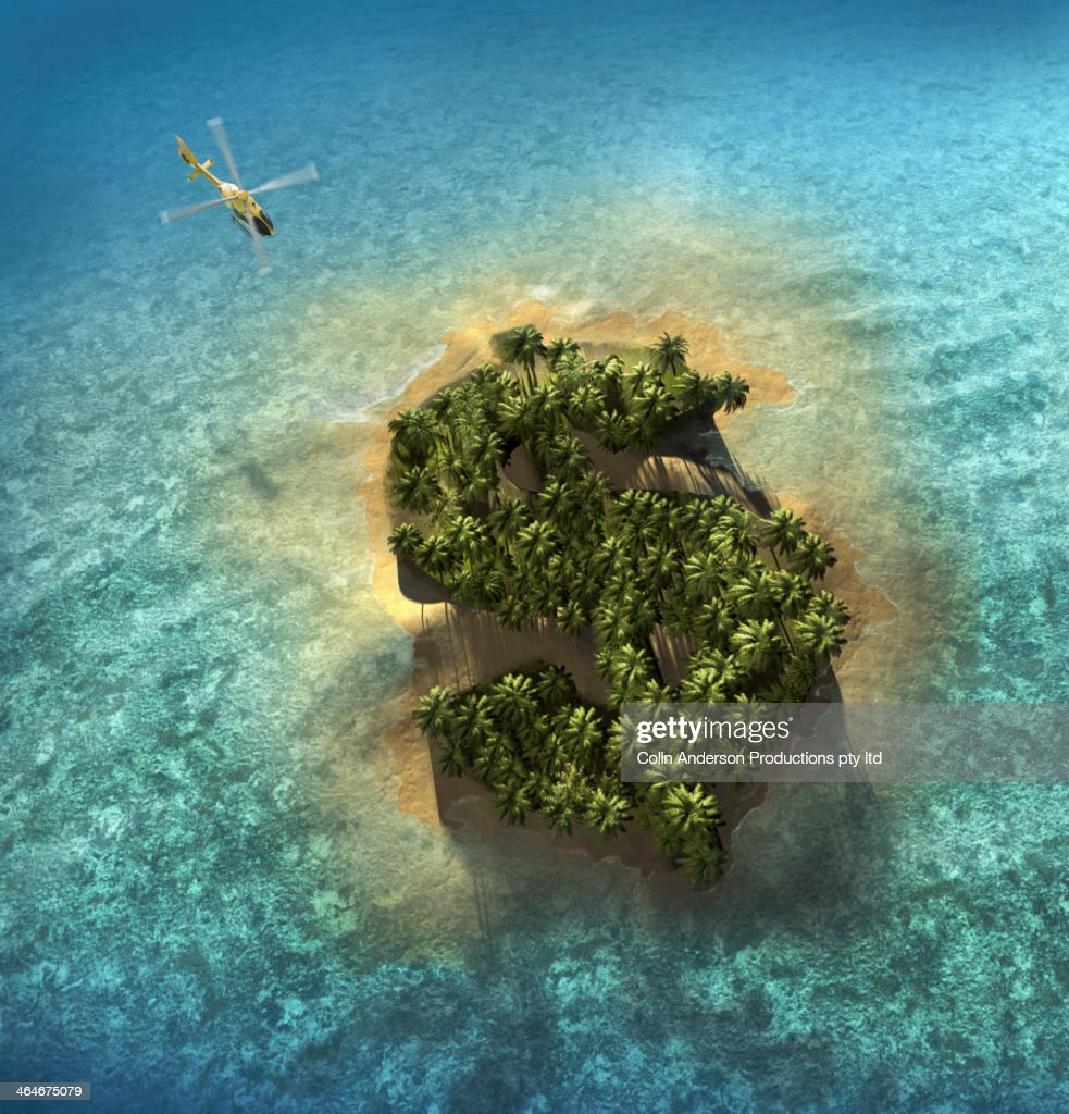 Dollar sign growing on tropical island : Stock Photo