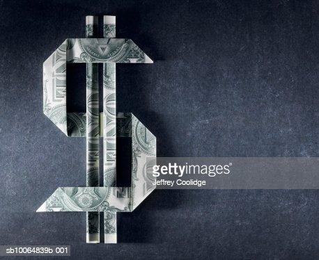 Dollar sign made from one dollar bills : Foto de stock