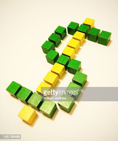 US Dollar sign made of cubes : Stock-Foto